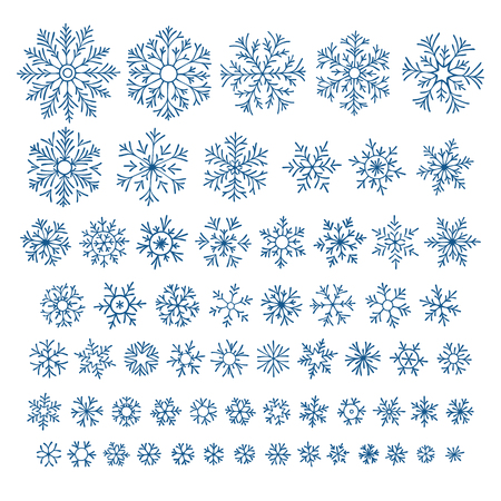 Set of different hand-drawn snowflakes Illustration