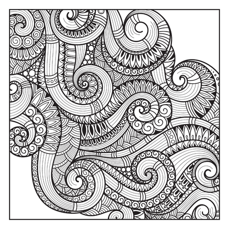 swirl patterns: Pattern for coloring book. Ethnic, floral, retro, doodle, vector, tribal design element. Black and white background. Doodle vector background. Abstract decorative vector frame. greeting card design Illustration