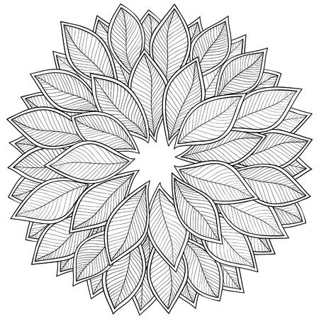 Modelo Para El Libro Para Colorear. Hojas. Étnico, Floral, Retro ...