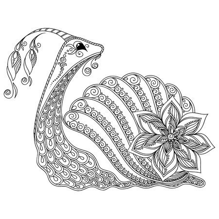 Pattern for coloring book. Coloring book pages for kids and adults. Illustration of a snail. Henna Mehndi Tattoo Style Doodles