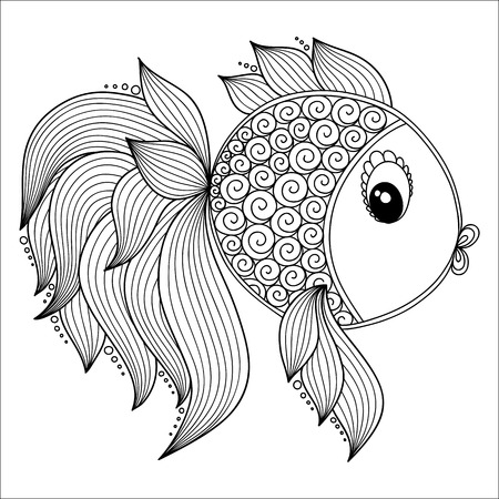 adults: Pattern for coloring book. Coloring book pages for kids and adults.Vector Cute Cartoon Fish. Henna Mehndi Tattoo Style Doodles Illustration