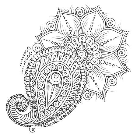 disegni cachemire: Motivo per libro da colorare. Colorare pagine del libro per bambini e adults.Vector gli elementi floreali in stile indiano. Henna Mehndi Tattoo Style Doodles