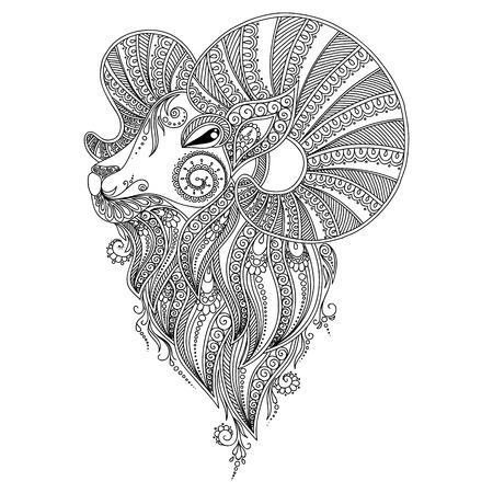 aries: Patr�n de las p�ginas del libro book.Coloring colorear para ni�os y adultos. La cabeza de Ram. Henna Mehndi tatuaje Estilo Doodles