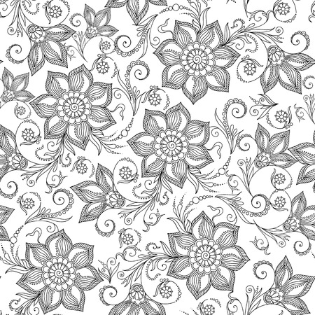 Pattern for coloring book. Coloring book pages for kids and adults.Henna MehendyTattoo Doodles Seamless Pattern