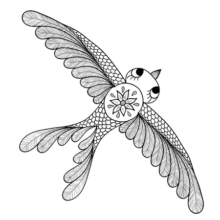 mehendi: Pattern for coloring book. Henna Mehendi Tattoo Style Doodles bird. Design element.. Hand Drawn vector illustration isolated on white background.Coloring book pages for kids and adults.