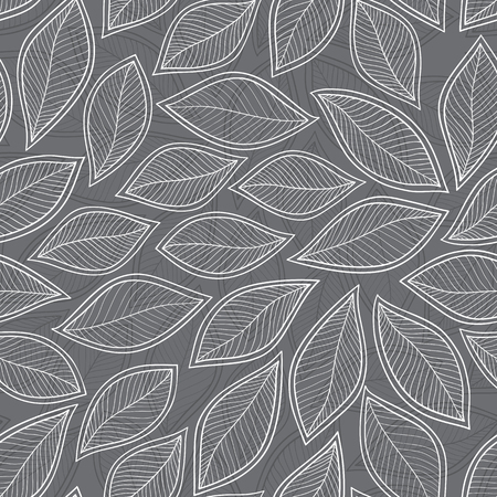 aronia: seamless with autumn leaves on grey background. vector illustration