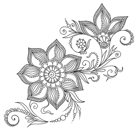 COLOURING: Pattern for coloring book. Coloring book pages for kids and adults.Vector abstract floral elements in indian style. Henna Mehndi Tattoo Style Doodles