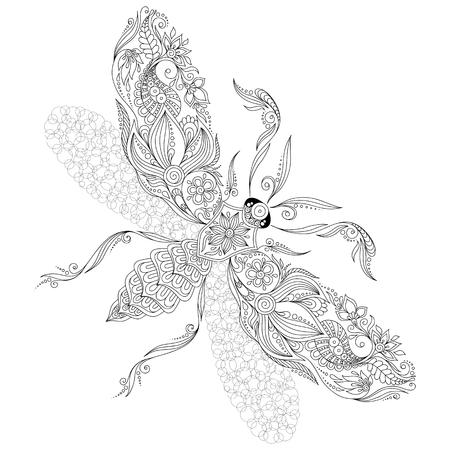 Modelo para el libro para colorear. Mariposa Henna Mehendi Tatuaje Estilo Doodles. Elemento de diseño .. dibujado mano ilustración vectorial aislado en blanco las páginas del libro background.Coloring para niños y adultos.