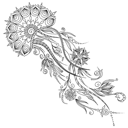 Pattern for coloring book. Coloring book pages for kids and adults. Abstract graphic illustration of jellyfish in vector . Henna Mehndi Tattoo Style Doodles Illustration