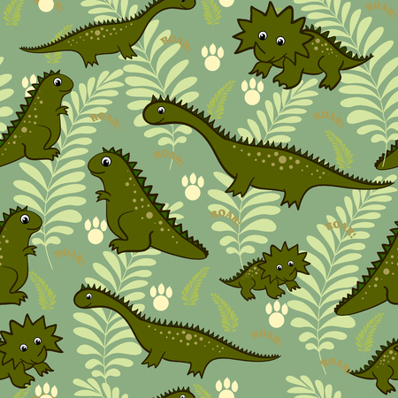dinosauro: Seamless baby dinosauro illustrazione animale background modello in vettore