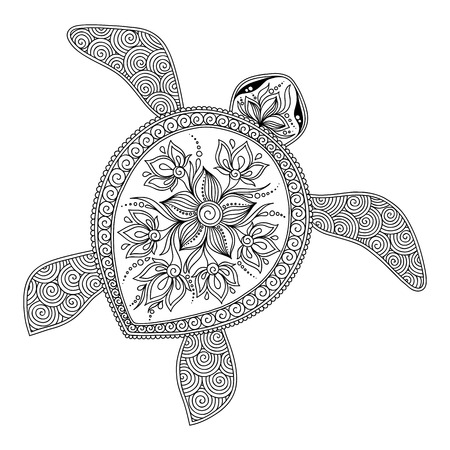 Pattern for coloring book. Coloring book pages for kids and adults. Decorative graphic turtle. Henna Mehndi Tattoo Style Doodles Ilustração