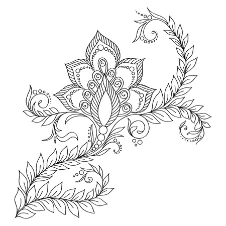Pattern for coloring book. Coloring book pages for kids and adults.Vector abstract floral elements in indian style. Henna Mehndi Tattoo Style Doodles
