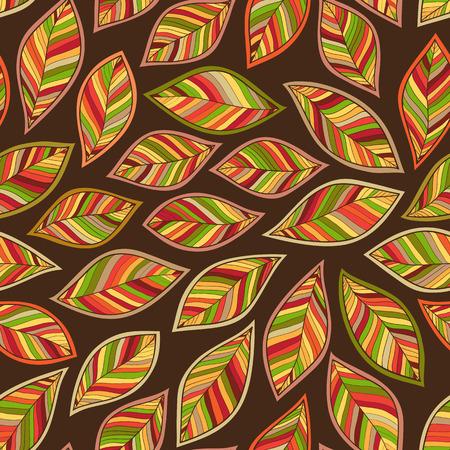 chokeberry: Seamless leaf pattern. Autumn background. Vector illustration