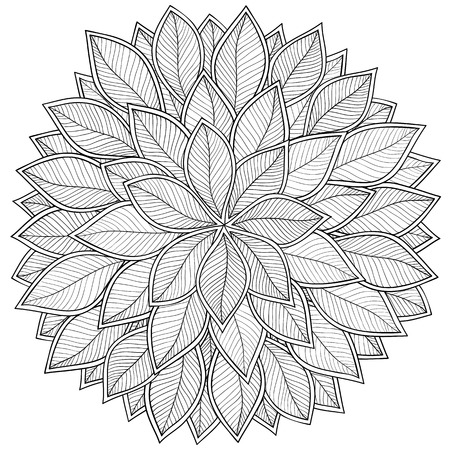henna pattern: Pattern for coloring book. Leaves. Ethnic, floral, retro, doodle, tribal design element. Black and white background. Zentangle patterns.