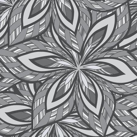 bezel: vector seamless abstract floral monochrome pattern. Black and white vector seamless pattern, vintage doodles.