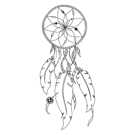 feathery: Pattern for coloring book. Coloring book pages for kids and adults. Indian Dream catcher Henna Mehndi Tattoo Style Doodles