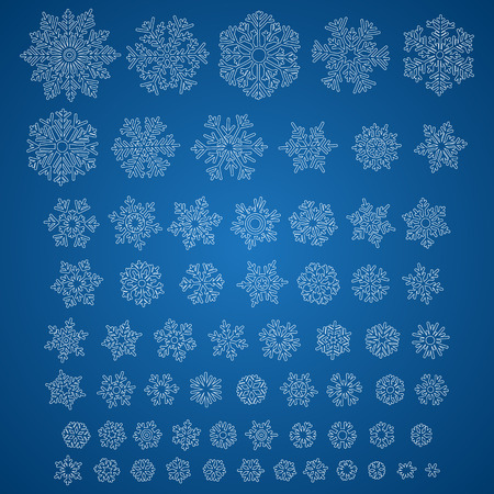 holiday backgrounds: Set of different vector hand-drawn snowflakes
