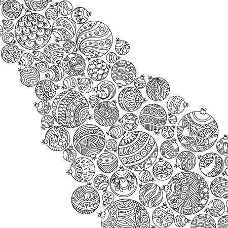 Patrón de libro para colorear. Navidad dibujados a mano elementos decorativos en el vector. Bolas de Navidad de lujo. Patrón de libro para colorear. Modelo blanco y negro.