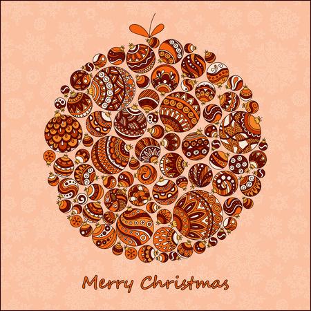 Biglietto natalizio. Bella in stile retrò palla di Natale da palle illustrazione. Doodle design etnico stilizzato. Archivio Fotografico - 47728577