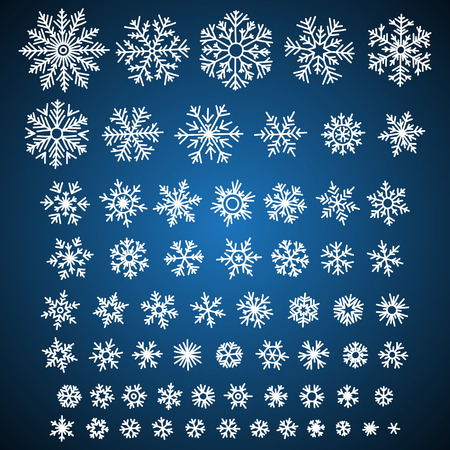 snowflake set: Set of different vector hand-drawn snowflakes