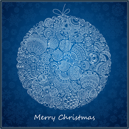 stylized design: Christmas Card. Beautiful in retro style Christmas ball from balls illustration. Doodle ethnic stylized design.