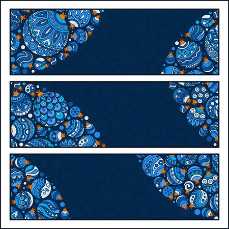 advertiser: Set of Elegant Christmas banners with doodle balls. Vector illustration Vettoriali