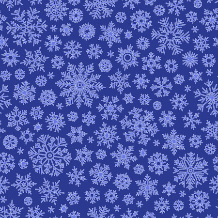 blue silhouettes: Christmas seamless doodle pattern with snowflakes, vector background