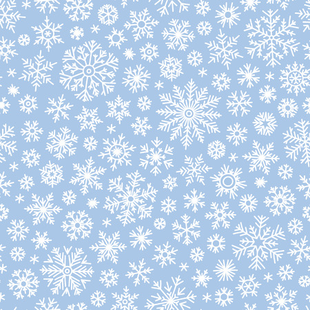 Christmas seamless doodle pattern with snowflakes, vector background