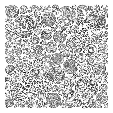 Pattern for coloring book. Christmas hand-drawn decorative elements in vector. Fancy Christmas ball from balls . Pattern for coloring book. Black and white pattern. Zentangle. Doodles.