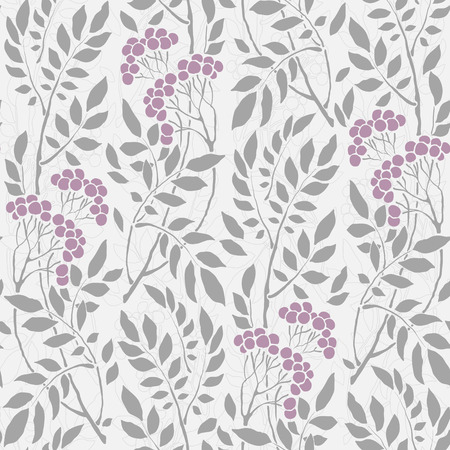 flower petals: seamless Art Deco vintage pattern with sprigs and berries Illustration