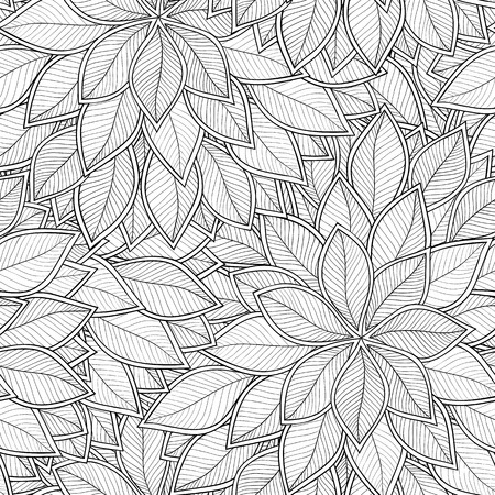 black and white line drawing: Abstract grey seamless pattern with leaves. Vector illustration.