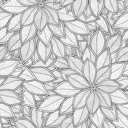 dessin noir et blanc: Abstract seamless pattern gris avec des feuilles. Vector illustration. Illustration