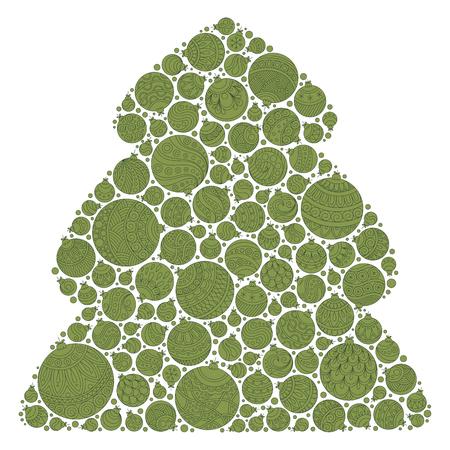 christmas tree illustration: Christmas tree of Christmas balls .Card poster banner. Vector illustration.
