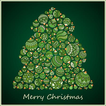 stylized design: Stylized design green Christmas tree of Christmas balls. Christmas card.