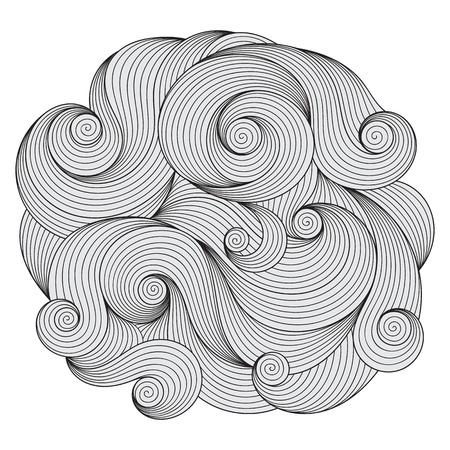 wave ornament: Black and white circle wave ornament, ornamental round lace design. Lines mandala.