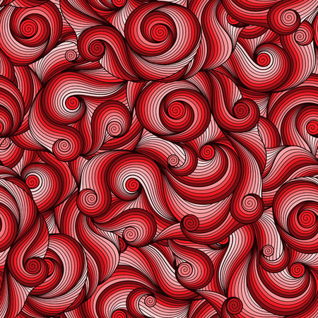 sea weeds: Seamless red abstract hand-drawn pattern, waves background. Seamless pattern can be used for wallpaper, pattern fills, web page background,surface textures.