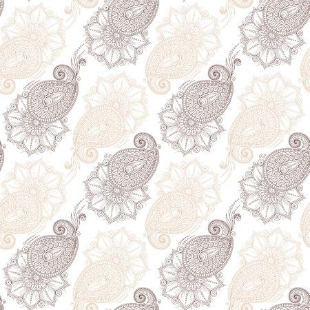 seamless pattern floral: Henna MehendyTattoo Doodles Seamless Pattern. Floral retro background pattern in vector. Henna paisley mehndi doodles design.