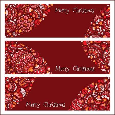 advertiser: Set of Elegant Red Christmas banners with doodle balls. Vector illustration