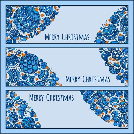 advertiser: Set of Elegant Blue Christmas banners with doodle balls. Vector illustration