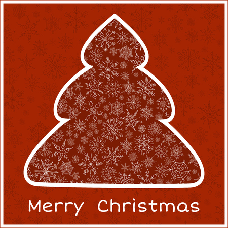 stylized design: Stylized design red Christmas tree from snowflakes greeting card vector illustration