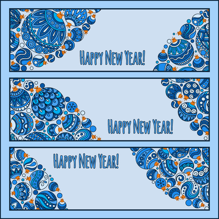 advertiser: Set of Elegant Red Christmas and Happy New Year banners with doodle balls. Vector illustration Illustration