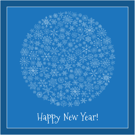 greeting stylized: Christmas ball of snowflakes vector illustration greeting card. Happy New Year Greeting Card. Doodle ethnic stylized design.