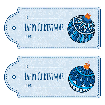 hang tag: Set of cute christmas gift tags, labels, hand drawn illustrations, isolated vector objects. Doodle ethnic stylized design.