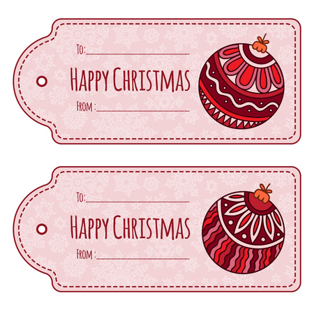 docket: Set of cute christmas gift tags, labels, hand drawn illustrations, isolated vector objects. Doodle ethnic stylized design.
