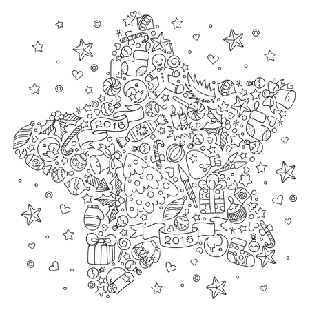 coloring pages to print: Pattern for coloring book. Christmas hand-drawn decorative elements in vector. Christmas star from Christmas decorative elements.