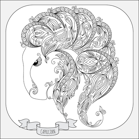 capricornus: Pattern for coloring book. Hand drawn line flowers art of zodiac Capricornus. Horoscope symbol for your use. For tattoo art, coloring books set.