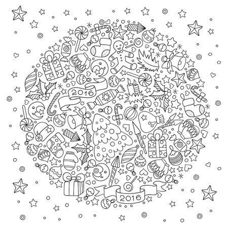 Patrón Para Colorear Libro. Navidad Elementos Decorativos Hechos A ...