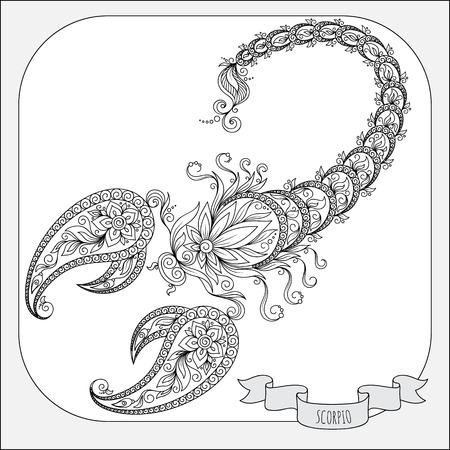 escorpio: Patrón de libro para colorear. Dé las flores línea de arte de la del zodiaco del escorpión. símbolo del horóscopo para su uso. Para el arte del tatuaje, establecen libros para colorear.