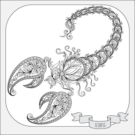 horoscopes: Pattern for coloring book. Hand drawn line flowers art of zodiac Scorpio. Horoscope symbol for your use. For tattoo art, coloring books set.