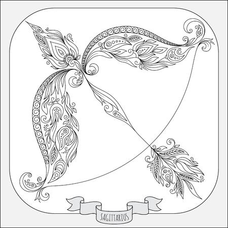 signes du zodiaque: Motif pour le livre de coloriage. Fleurs en ligne dessinés à la main art de zodiaque Sagittaire. Symbole de horoscope pour votre usage. Pour l'art du tatouage, livres à colorier fixés.